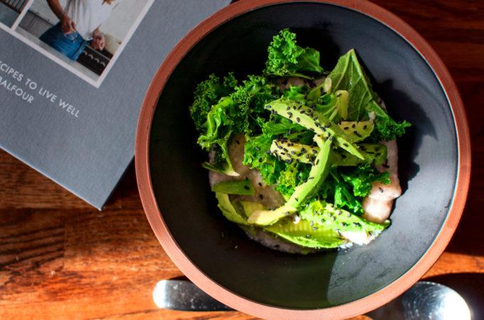 Αλμυρο porridge με μισο και λαχανιδα